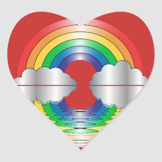 Rainbow and Clouds Reflection LGBT Stickers