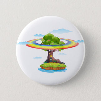 Rainbow and island 6 cm round badge