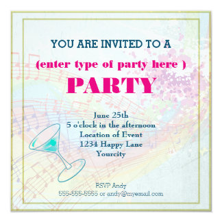 Rainbow and Music Notes party 13 Cm X 13 Cm Square Invitation Card