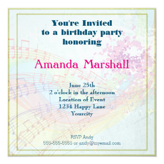 Rainbow and Music Notes party 5.25x5.25 Square Paper Invitation Card
