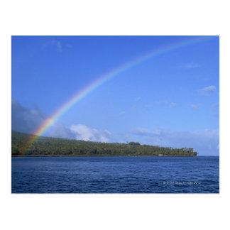 Rainbow and Palm Tree Island Postcard