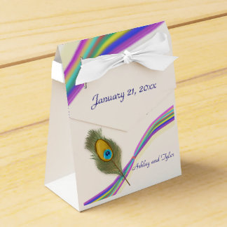 Rainbow and Peacock Feather Favour Box