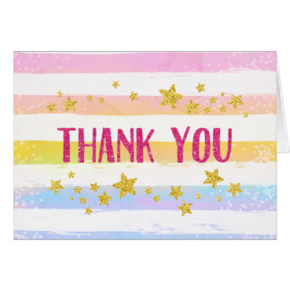 Rainbow and Stars Thank You Card Glitter Confetti