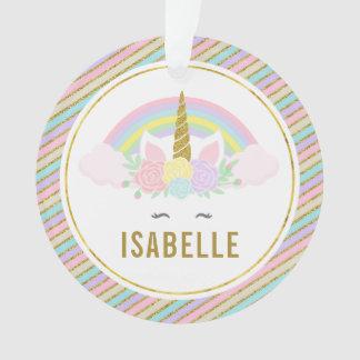 Rainbow and Unicorn Photo Christmas Ornament