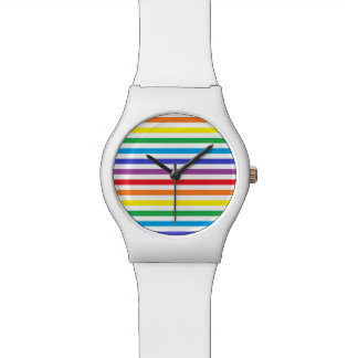 Rainbow and White Stripes Watch