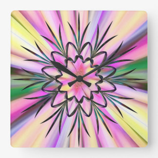 Rainbow and wrought iron square wall clock