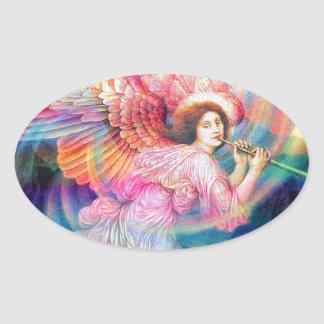 Rainbow Angel Oval Sticker