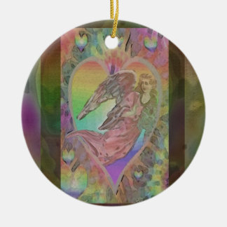 Rainbow Angel with Hearts Round Ceramic Decoration