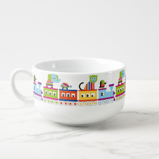 Rainbow Animal Train Soup Bowl With Handle
