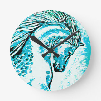Rainbow Arabian Manga Teal Round Clock