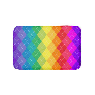 Rainbow Argyle Pattern Bath Mats