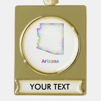 Rainbow Arizona map Gold Plated Banner Ornament