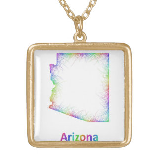 Rainbow Arizona map Gold Plated Necklace