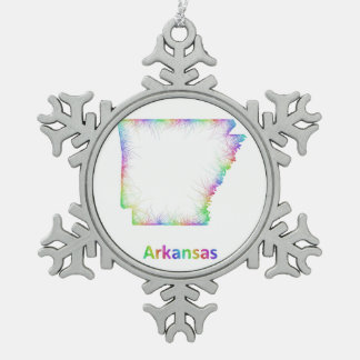 Rainbow Arkansas map Snowflake Pewter Christmas Ornament
