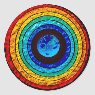 Rainbow around the Earth Classic Round Sticker