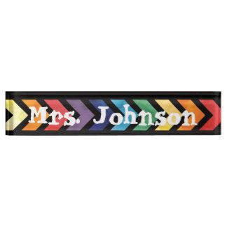 Rainbow Arrow Name Desk Plate