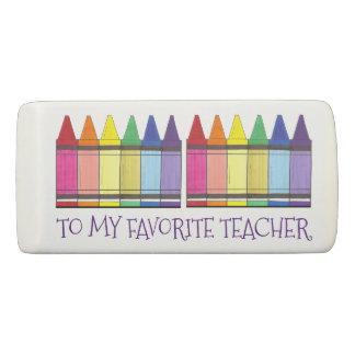 Rainbow Art Crayons Favorite Teacher Personalized Eraser