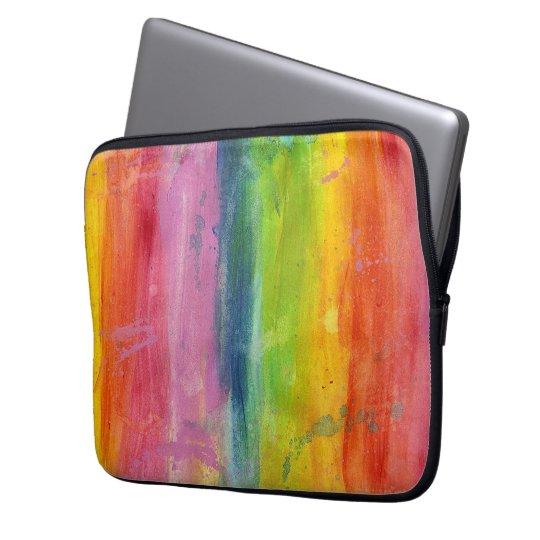 Rainbow art paint stripe arty colourful laptop laptop sleeve