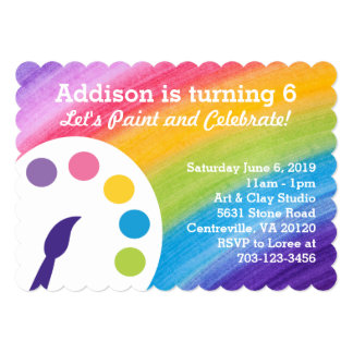 Rainbow Art Party Invitation