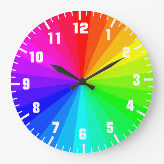 Rainbow art wheel large clock