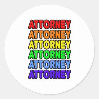 Rainbow Attorney Round Stickers