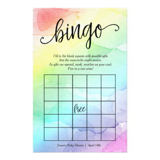 Rainbow Baby Shower Bingo Game,  Watercolor Flyer