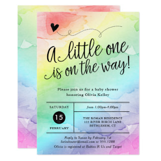 Rainbow Baby Shower, Gender Neutral Watercolor Card
