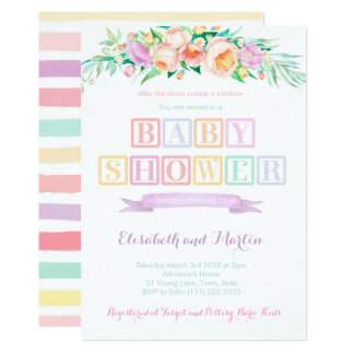 Rainbow baby shower invitation cards pastel