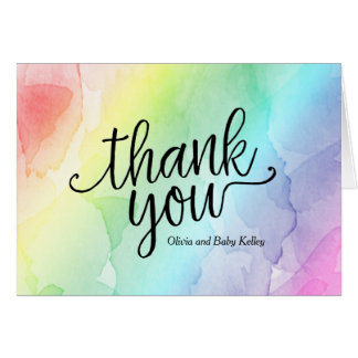 Rainbow Baby Shower Thank You Note Card