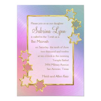Rainbow Background Star Border Bat Mitzvah 14 Cm X 19 Cm Invitation Card