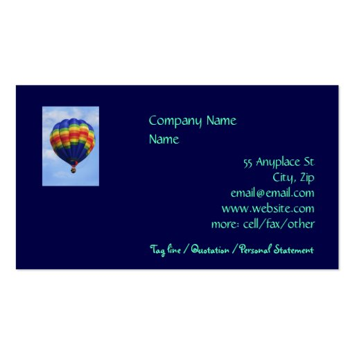 Rainbow Ballooning business card templates