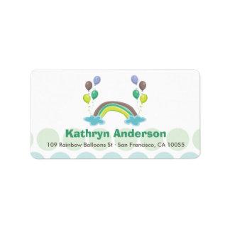 Rainbow & Balloons Baby Boy Shower Address Labels