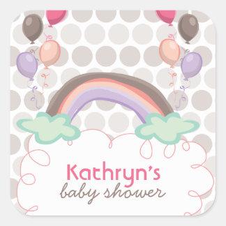 Rainbow & Balloons Baby Girl Shower Sticker