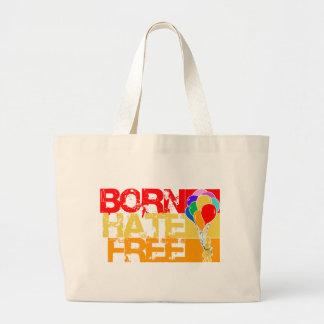 rainbow balloons. born hate free. jumbo tote bag