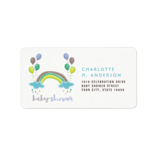 Rainbow & Balloons Boy Baby Shower Address Labels