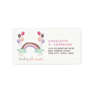 Rainbow & Balloons Girl Baby Shower Address Labels