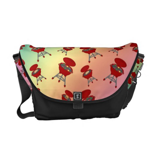 rainbow barbeque pattern courier bag