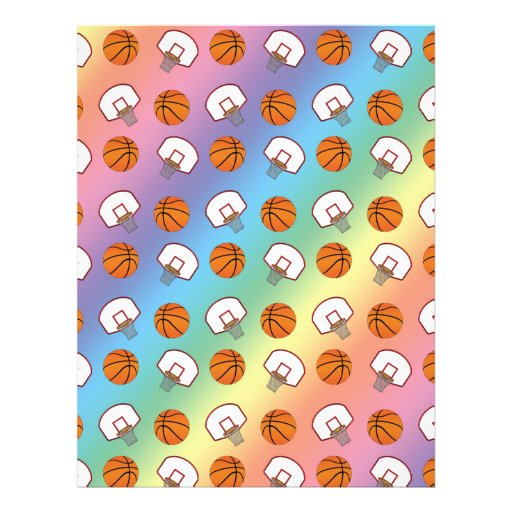 Rainbow basketballs and nets pattern custom flyer