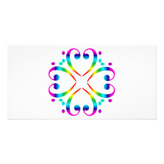 Rainbow Bass Clef Cluster Photo Cards