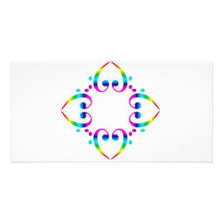 Rainbow Bass Clef Flower Photo Card