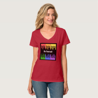 "Rainbow ""Be Yourself"" V Neck T-Shirt"