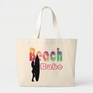 RAINBOW BEACH BABE SURF GIRL- TEMPLATE LARGE TOTE BAG
