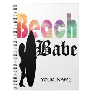 RAINBOW BEACH BABE SURF GIRL- TEMPLATE NOTE BOOK