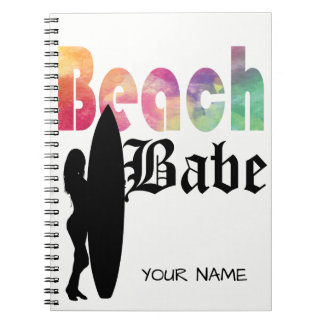 RAINBOW BEACH BABE SURF GIRL- TEMPLATE NOTEBOOK