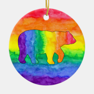 Rainbow Bear on Rainbow Wash Circle Ornament