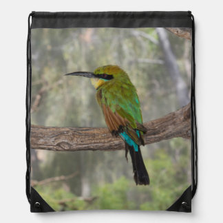 Rainbow bee-eater bird, Australia Drawstring Bag