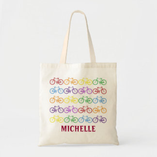 Rainbow Bicycle Cyclist Name Personalized Tote