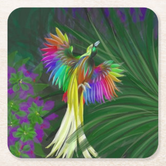 Rainbow Bird of Paradise Square Paper Coaster