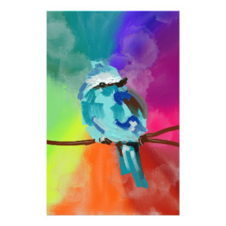 Rainbow Bird Print Stationery