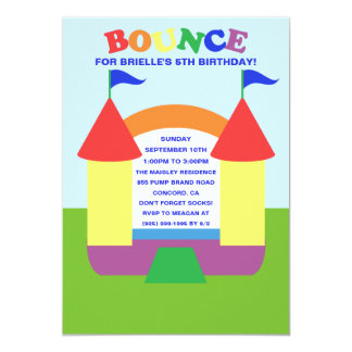Rainbow Birthday Bounce Bounc House Birthday Party Card
